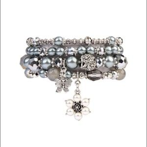 Beaded Flower Charm Stackable Bracelet